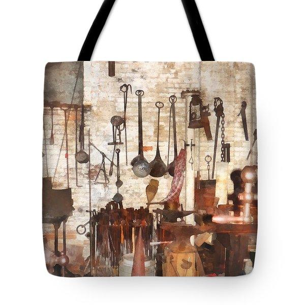 Building Trades - Hand Tools In Machine Shop Tote Bag by Susan Savad