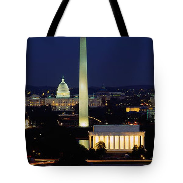 Buildings Lit Up At Night, Washington Tote Bag by Panoramic Images