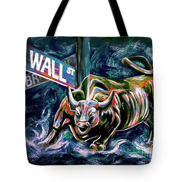 Bull Market Night Tote Bag by Teshia Art