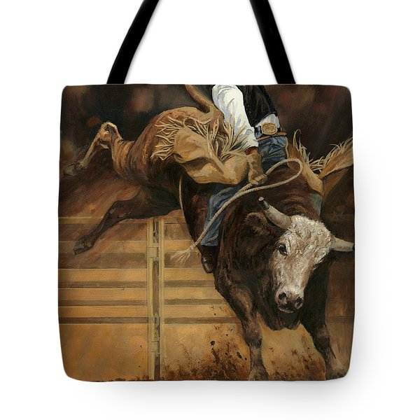 Bull Riding 1 Tote Bag by Don  Langeneckert