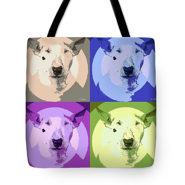 Bull Terrier Pop Art Tote Bag by George Pedro