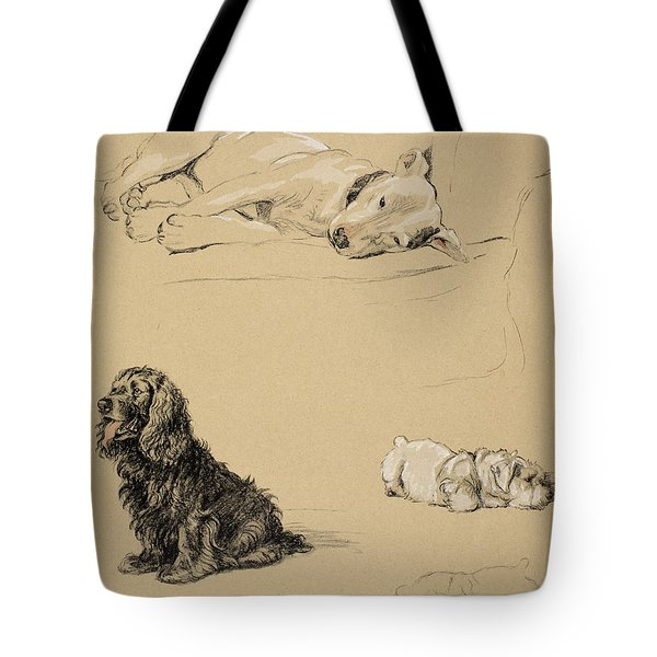 Bull-terrier, Spaniel And Sealyhams Tote Bag by Cecil Charles Windsor Aldin