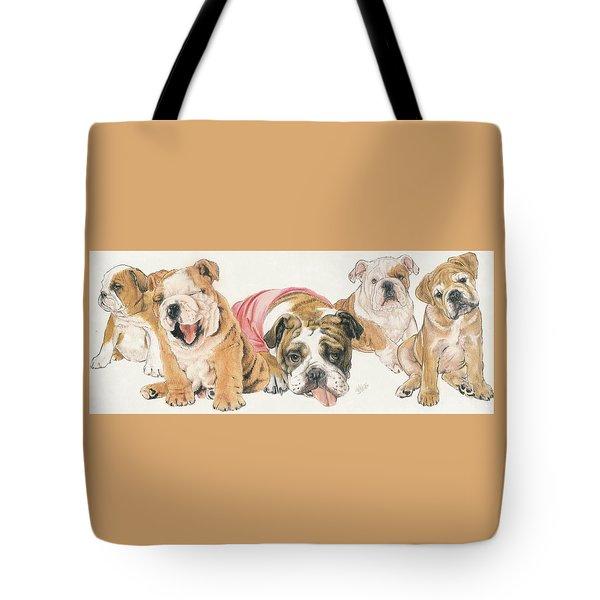 Bulldog Puppies Tote Bag by Barbara Keith