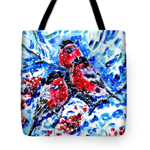 Bullfinches Tote Bag by Zaira Dzhaubaeva