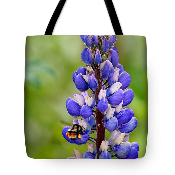 Bumble Bee And Lupine Tote Bag by Art Block Collections