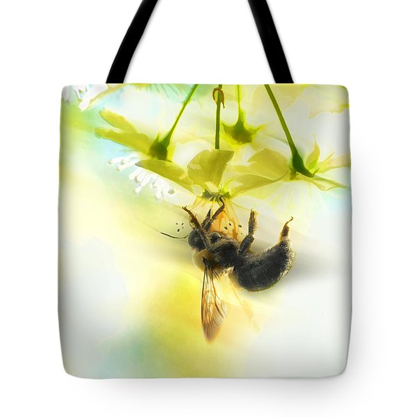 Bumble Going In For The Nectar Tote Bag by Dan Friend