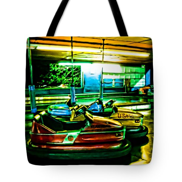 Bumper Cars Tote Bag by Colleen Kammerer