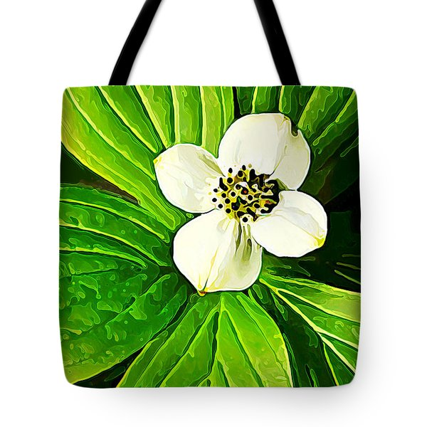 Bunchberry Blossom Tote Bag by Bill Caldwell -        ABeautifulSky Photography