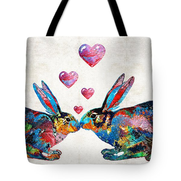 Bunny Rabbit Art - Hopped Up On Love - By Sharon Cummings Tote Bag by Sharon Cummings