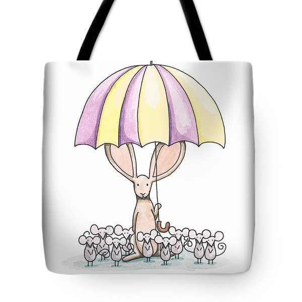Bunny with Umbrella Tote Bag by Christy Beckwith