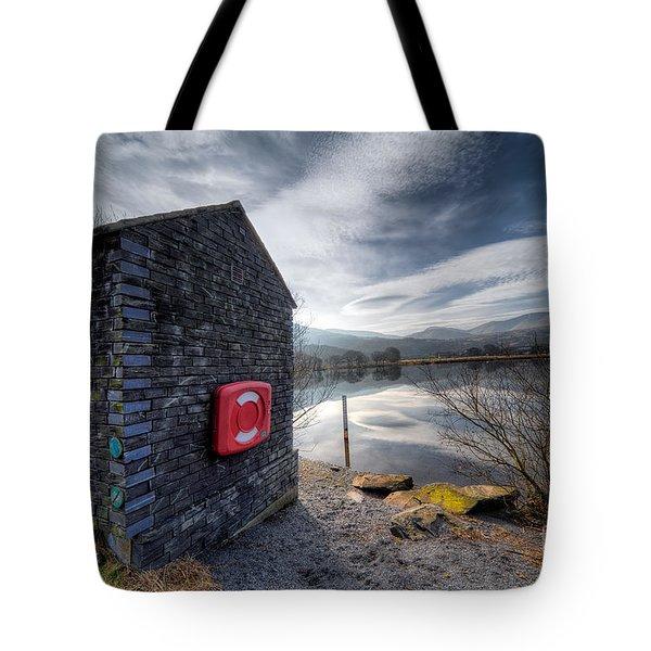 Buoy At Lake Tote Bag by Adrian Evans