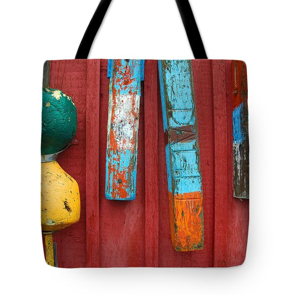 Buoys at Rockport Motif Number One Lobster Shack Maritime Tote Bag by Jon Holiday