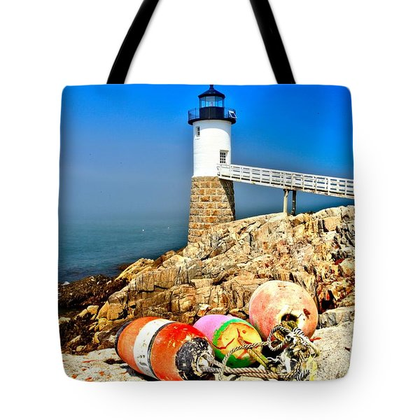 Buoys At The Headlight Tote Bag by Adam Jewell
