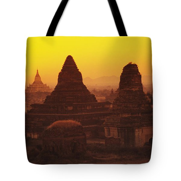 Burma Myanmar, Bagan, Temples At Sunset Tote Bag by Richard Maschmeyer
