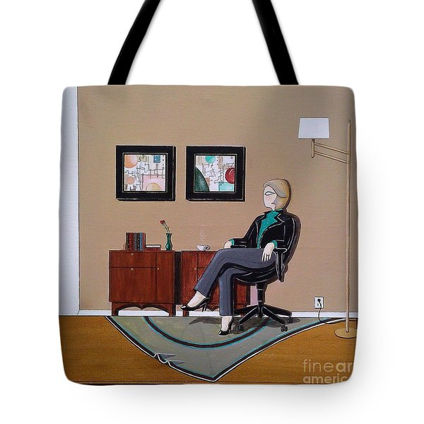 Businesswoman Sitting In Chair Tote Bag by John Lyes