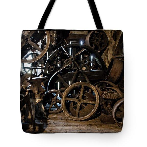 Butte Creek Mill Interior Scene Tote Bag by Mick Anderson