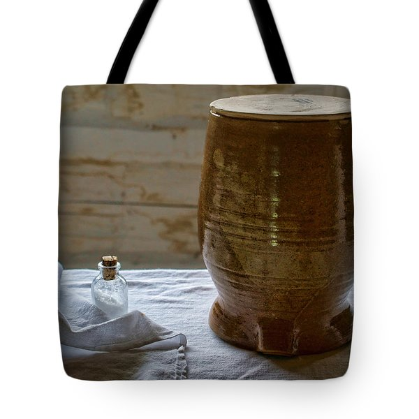 Butter Makers Crock And Salt Tote Bag by Nikolyn McDonald