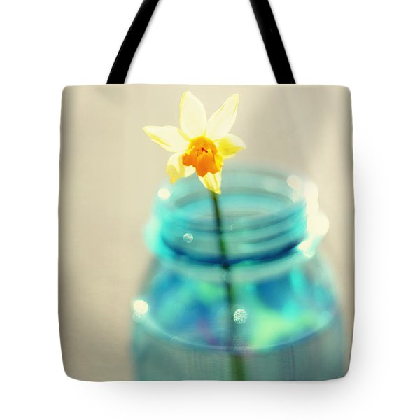 Buttercup Photography - Flower in a Mason Jar - Daffodil Photography - Aqua Blue Yellow Wall Art  Tote Bag by Amy Tyler