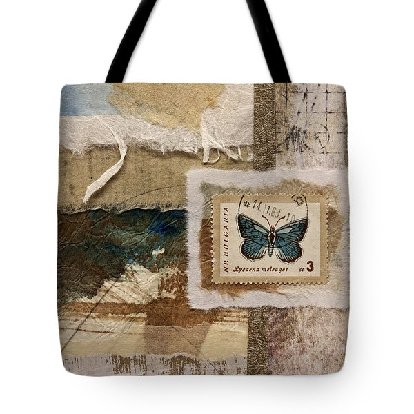 Butterfly And Blue Collage Tote Bag by Carol Leigh