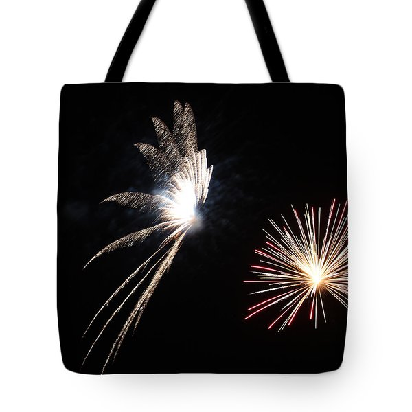 Butterfly and Flower Fireworks Tote Bag by Howard Tenke