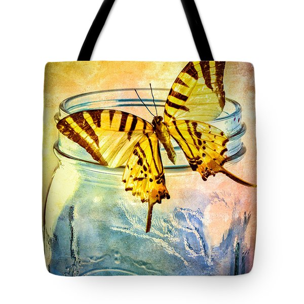 Butterfly Blue Glass Jar Tote Bag by Bob Orsillo