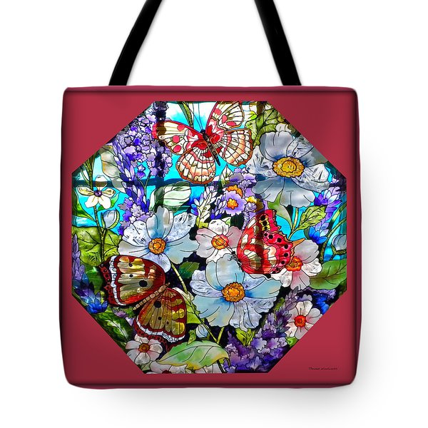 Butterfly Octagon Stained Glass Window Tote Bag by Thomas Woolworth