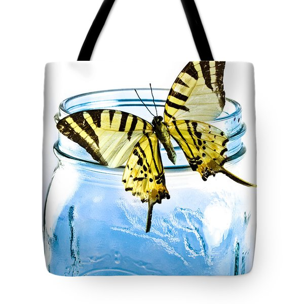 Butterfly On A Blue Jar Tote Bag by Bob Orsillo