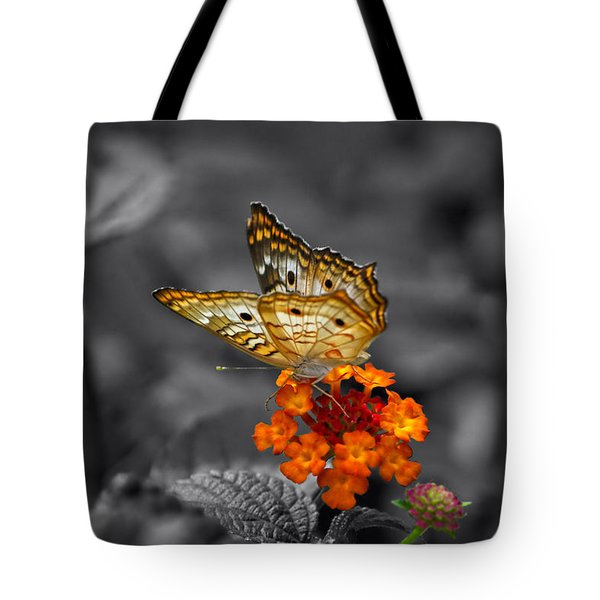 Butterfly Wings Of Sun Light Selective Coloring Black And White Digital Art Tote Bag by Thomas Woolworth