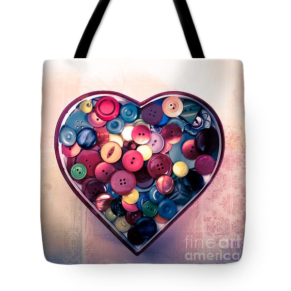 Button Love Tote Bag by Jan Bickerton