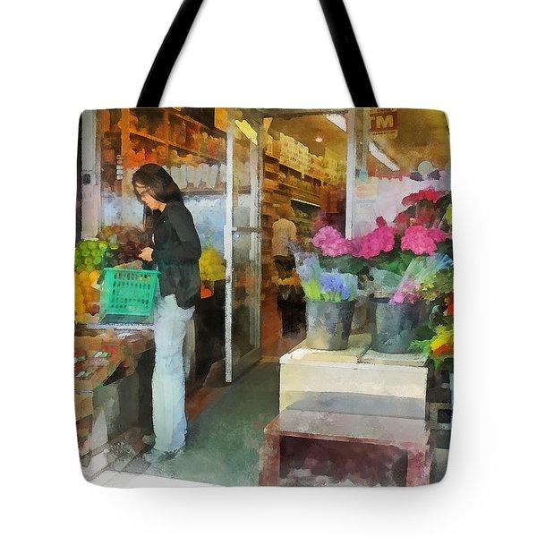 Buying Fresh Fruit Tote Bag by Susan Savad