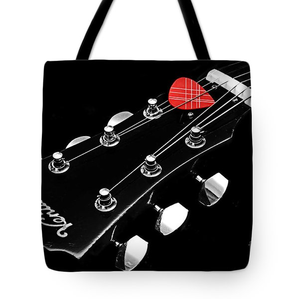 Bw Head Stock With Red Pick  Tote Bag by Andee Design