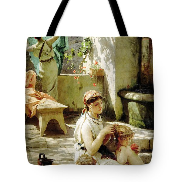 By A Pool 1 Tote Bag by MotionAge Designs