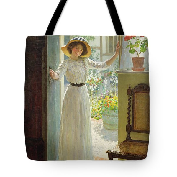 By The Cottage Door Tote Bag by William Henry Margetson
