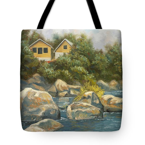 By The River Tote Bag by Lucie Bilodeau