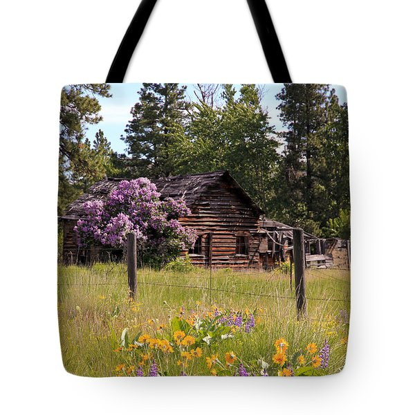 Cabin And Wildflowers Tote Bag by Athena Mckinzie