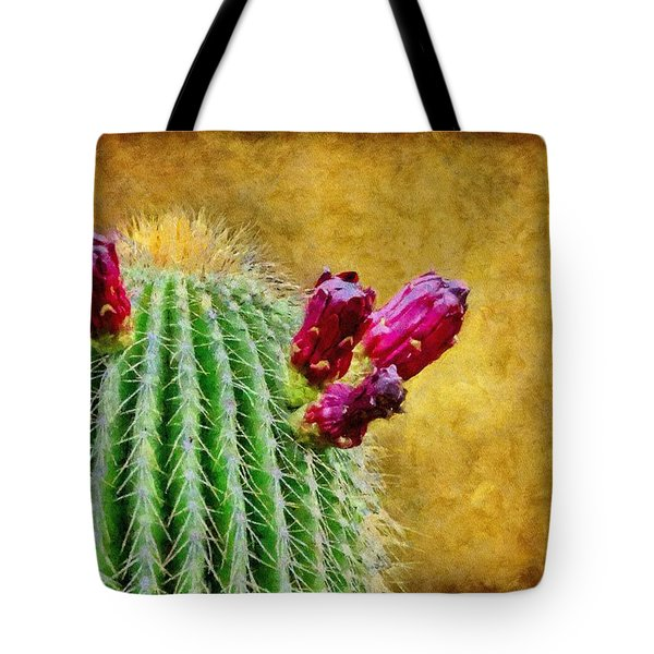 Cactus With Flowers Tote Bag by Jeff Kolker
