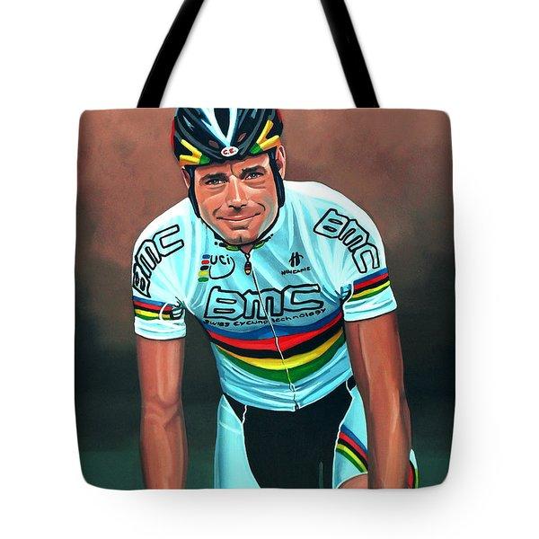 Cadel Evans Tote Bag by Paul Meijering