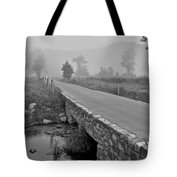 Cades Cove Black And White Tote Bag by Frozen in Time Fine Art Photography