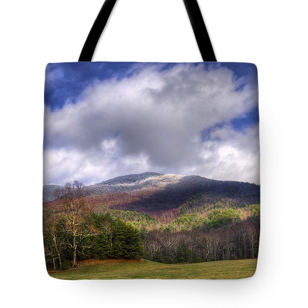 Cades Cove First Dusting Of Snow Tote Bag by Debra and Dave Vanderlaan