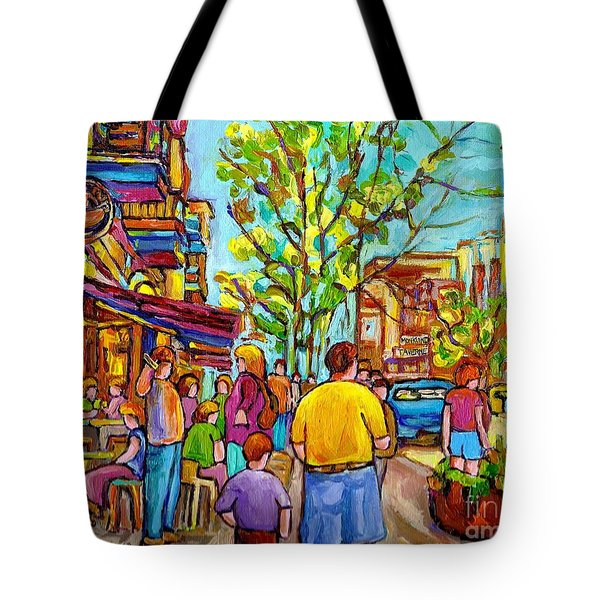Cafes In Springtime Tote Bag by Carole Spandau