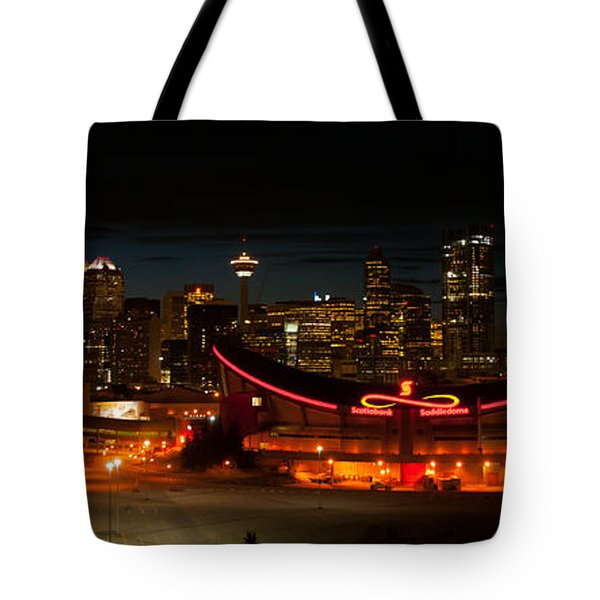 Calgary At Night Tote Bag by Guy Whiteley