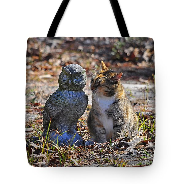 Calico Cat and Obtuse Owl Tote Bag by Al Powell Photography USA