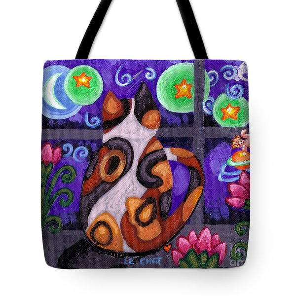 Calico Cat In Moonlight Tote Bag by Genevieve Esson