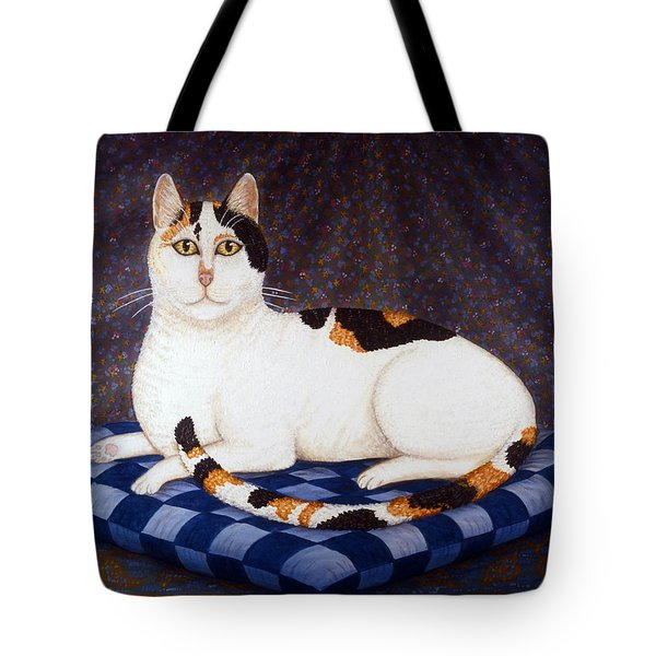 Calico Cat Portrait Tote Bag by Linda Mears