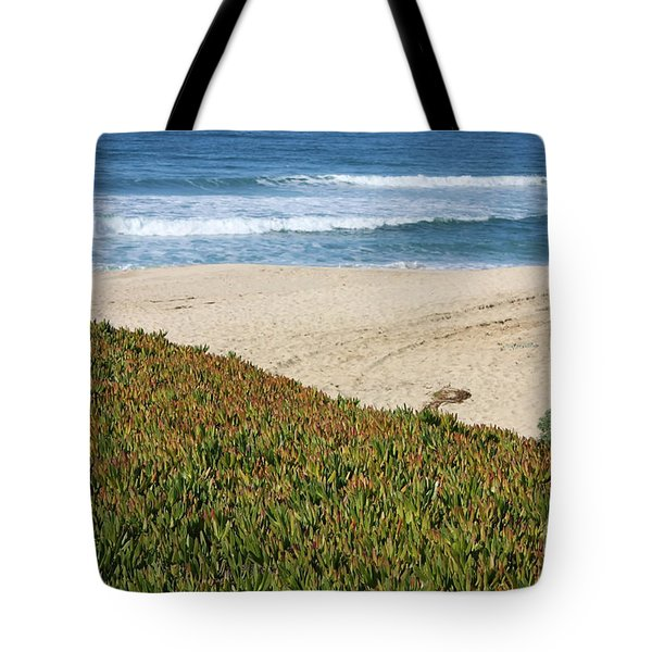 California Beach with Ice Plant Tote Bag by Carol Groenen