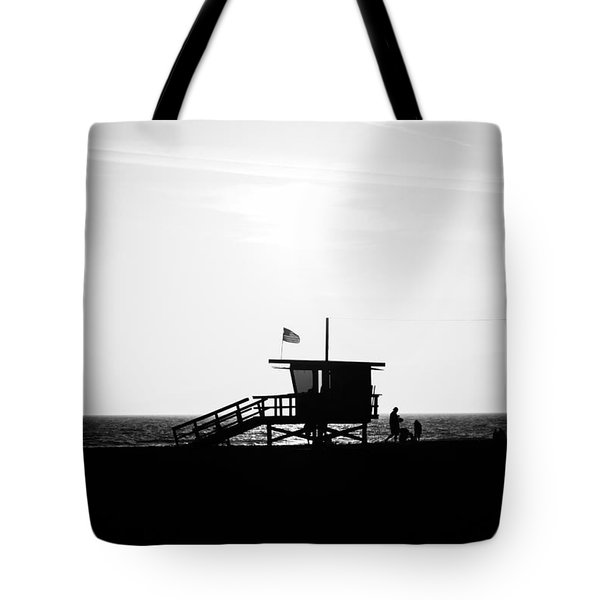 California Lifeguard Stand In Black And White Tote Bag by Paul Velgos