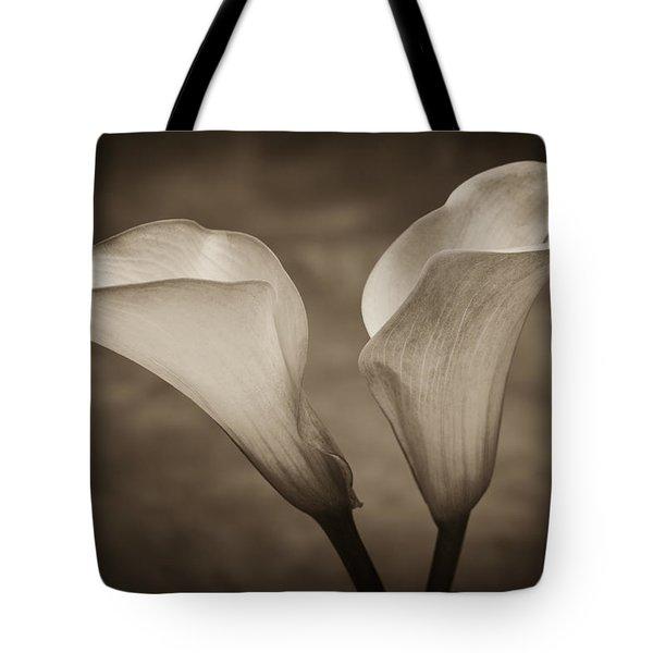 Calla Lilies In Sepia Tote Bag by Sebastian Musial