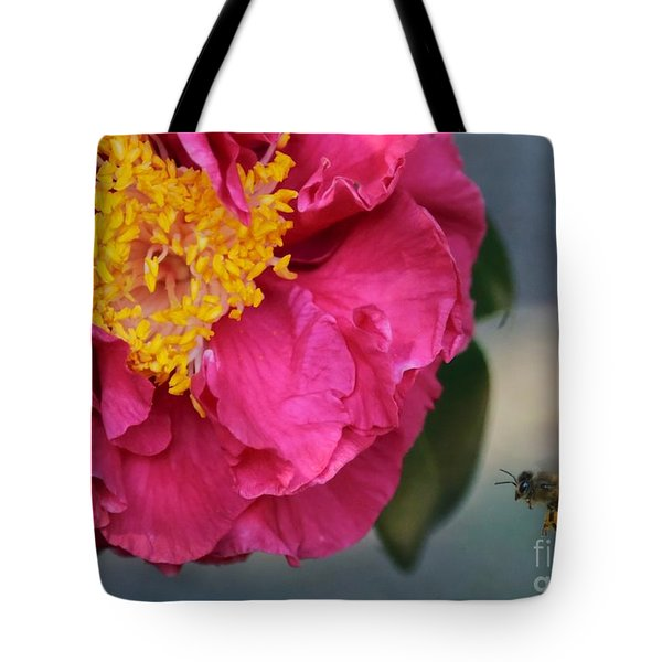 Camellia with Bee Tote Bag by Carol Groenen