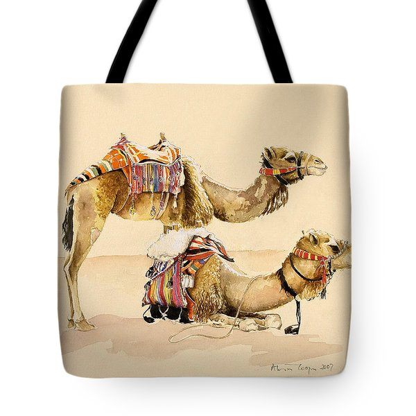 Camels From Petra Tote Bag by Alison Cooper