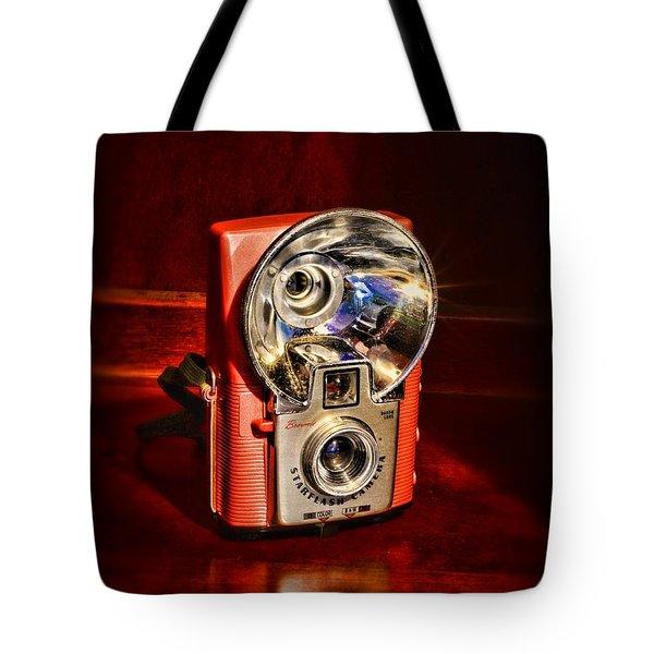 Camera - Vintage Brownie Starflash Tote Bag by Paul Ward